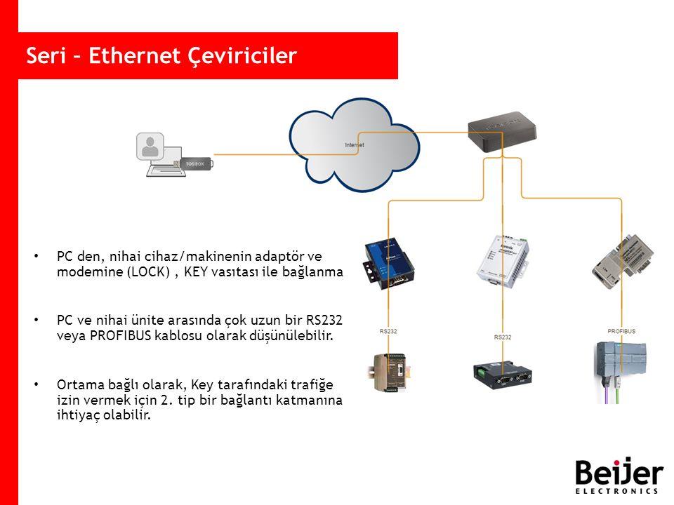 Seri – Ethernet Çeviriciler PC den, nihai cihaz/makinenin adaptör ve modemine (LOCK), KEY vasıtası ile bağlanma PC ve nihai ünite arasında çok uzun bir RS232 veya PROFIBUS kablosu olarak düşünülebilir.