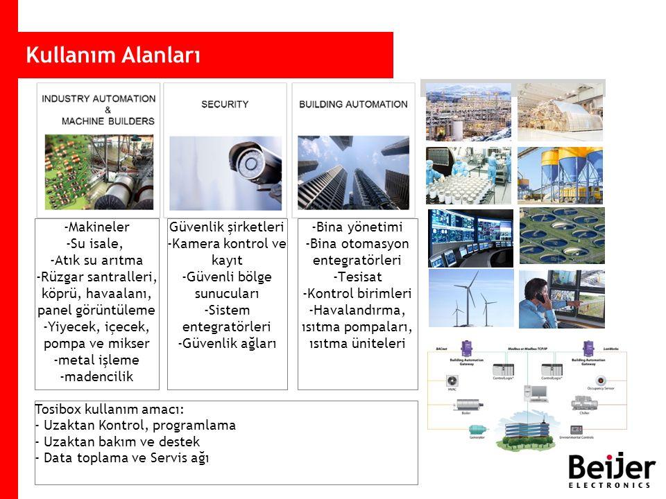 Kullanım Alanları -Makineler -Su isale, -Atık su arıtma -Rüzgar santralleri, köprü, havaalanı, panel görüntüleme -Yiyecek, içecek, pompa ve mikser -metal işleme -madencilik Güvenlik şirketleri -Kamera kontrol ve kayıt -Güvenli bölge sunucuları -Sistem entegratörleri -Güvenlik ağları -Bina yönetimi -Bina otomasyon entegratörleri -Tesisat -Kontrol birimleri -Havalandırma, ısıtma pompaları, ısıtma üniteleri Tosibox kullanım amacı: - Uzaktan Kontrol, programlama - Uzaktan bakım ve destek - Data toplama ve Servis ağı