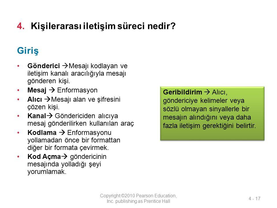 4.Kişilerarası iletişim süreci nedir? Gönderici  Mesajı kodlayan ve iletişim kanalı aracılığıyla mesajı gönderen kişi. Mesaj  Enformasyon Alıcı  Me