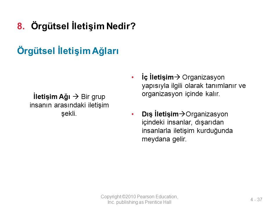 8.Örgütsel İletişim Nedir? İç İletişim  Organizasyon yapısıyla ilgili olarak tanımlanır ve organizasyon içinde kalır. Dış İletişim  Organizasyon içi