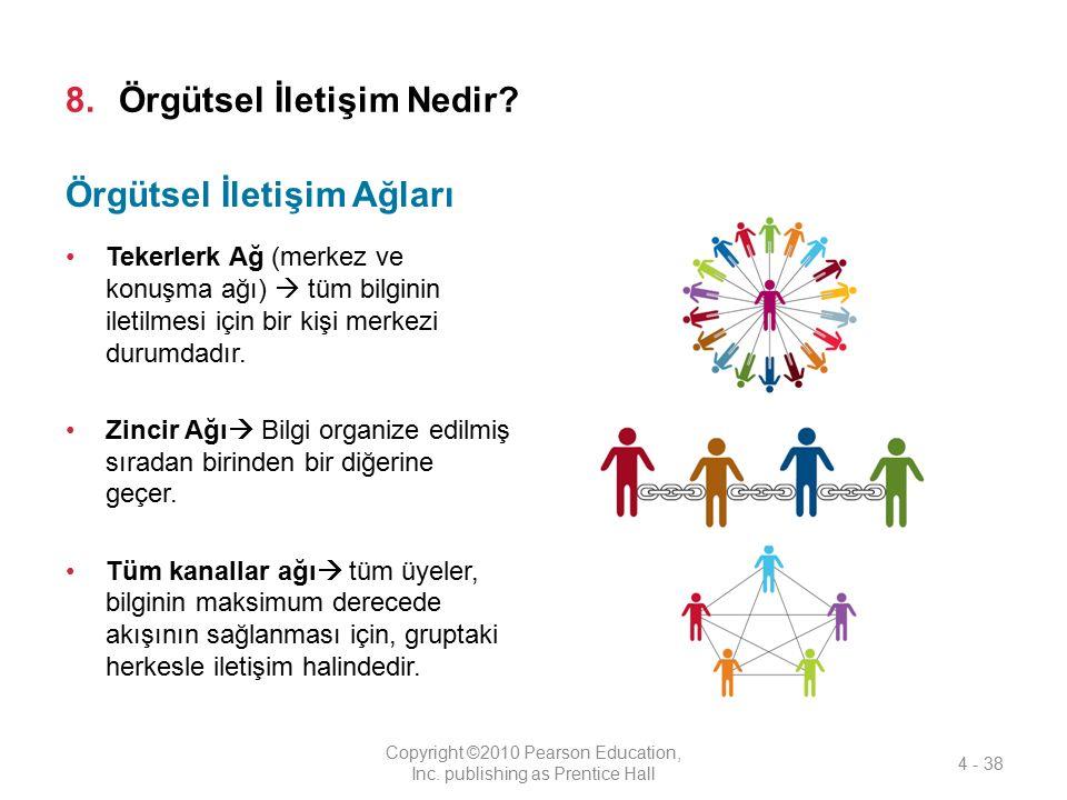 8.Örgütsel İletişim Nedir? Tekerlerk Ağ (merkez ve konuşma ağı)  tüm bilginin iletilmesi için bir kişi merkezi durumdadır. Zincir Ağı  Bilgi organiz