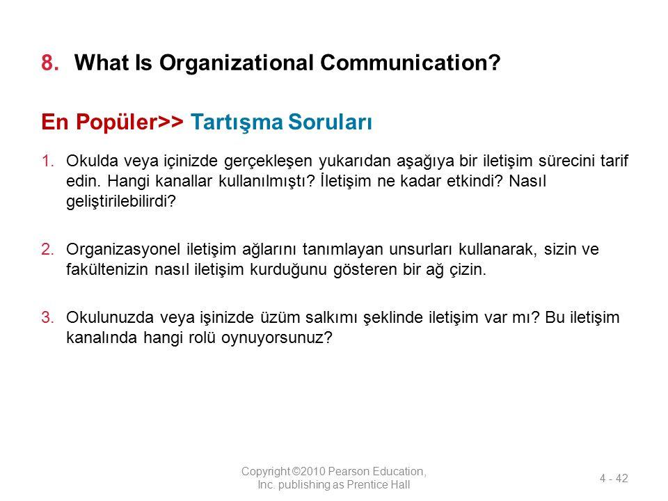 8.What Is Organizational Communication? 1.Okulda veya içinizde gerçekleşen yukarıdan aşağıya bir iletişim sürecini tarif edin. Hangi kanallar kullanıl