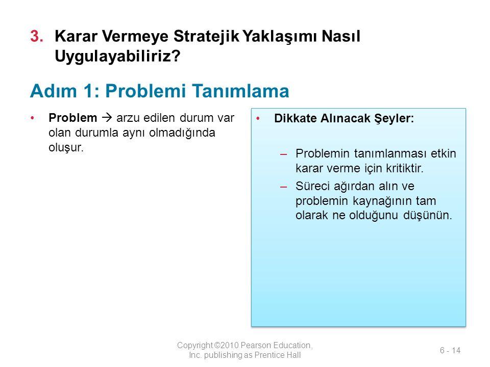 3.Karar Vermeye Stratejik Yaklaşımı Nasıl Uygulayabiliriz? Problem  arzu edilen durum var olan durumla aynı olmadığında oluşur. Copyright ©2010 Pears