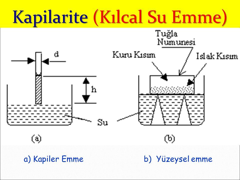 a) Kapiler Emme b) Yüzeysel emme Kapilarite (Kılcal Su Emme)