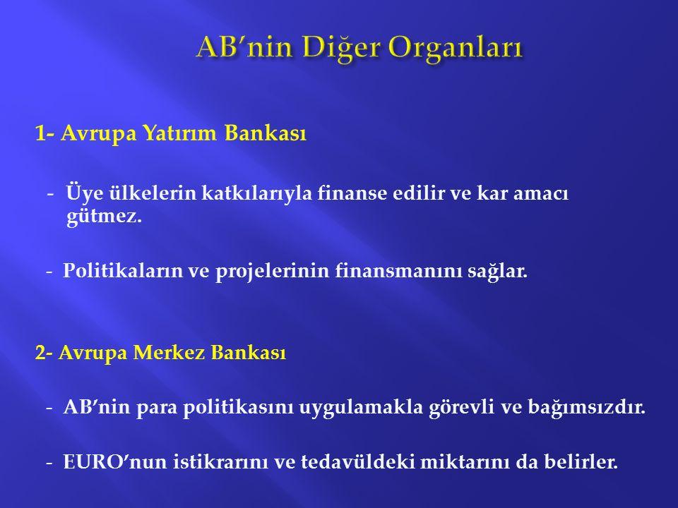 1- Avrupa Yatırım Bankası - Üye ülkelerin katkılarıyla finanse edilir ve kar amacı gütmez. - Politikaların ve projelerinin finansmanını sağlar. 2- Avr