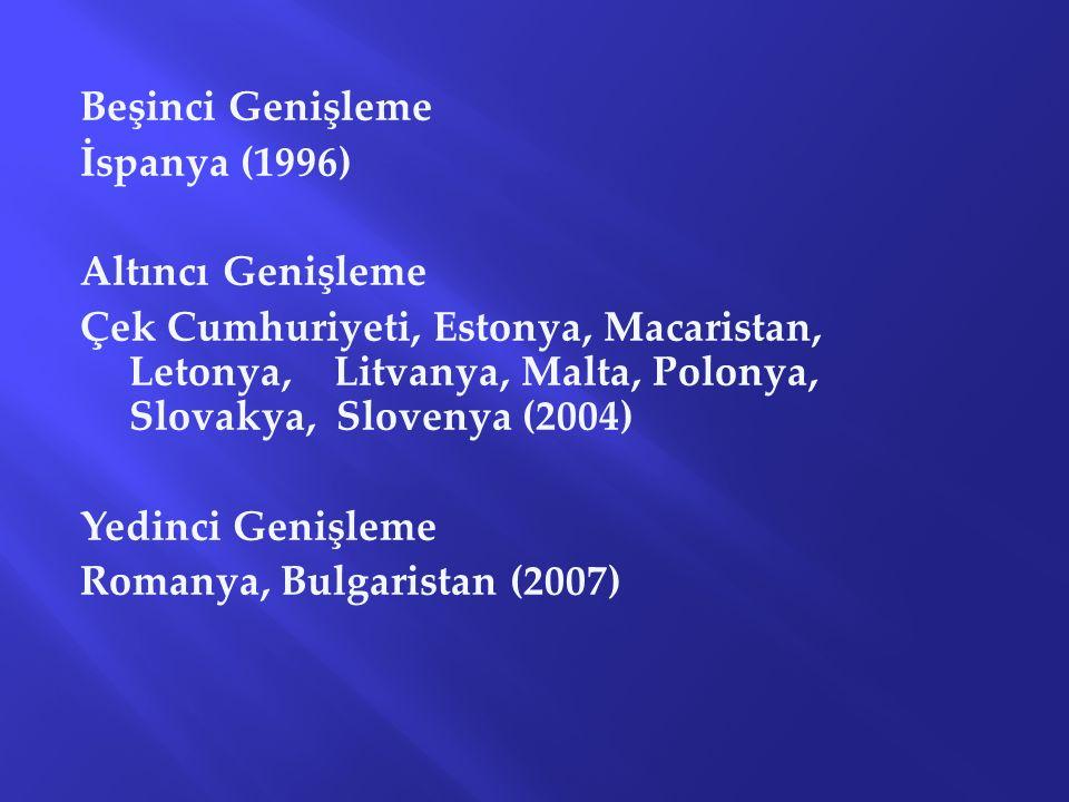 Beşinci Genişleme İspanya (1996) Altıncı Genişleme Çek Cumhuriyeti, Estonya, Macaristan, Letonya, Litvanya, Malta, Polonya, Slovakya, Slovenya (2004)