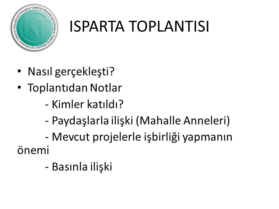 ISPARTA TOPLANTISI Nasıl gerçekleşti. Toplantıdan Notlar - Kimler katıldı.