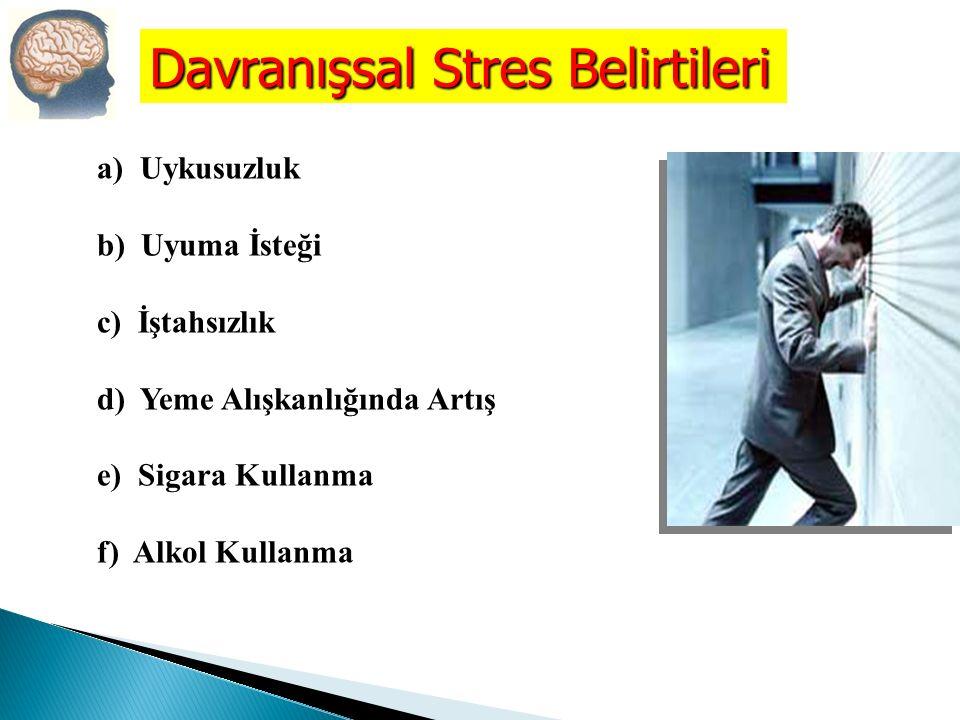 a) Gerginlik b) Geçimsizlik c) İşbirliğinden Kaçınma d) Sürekli Endişe e) Yetersizlik Duygusu f) Yersiz Telaş Psikolojik Stres Belirtileri