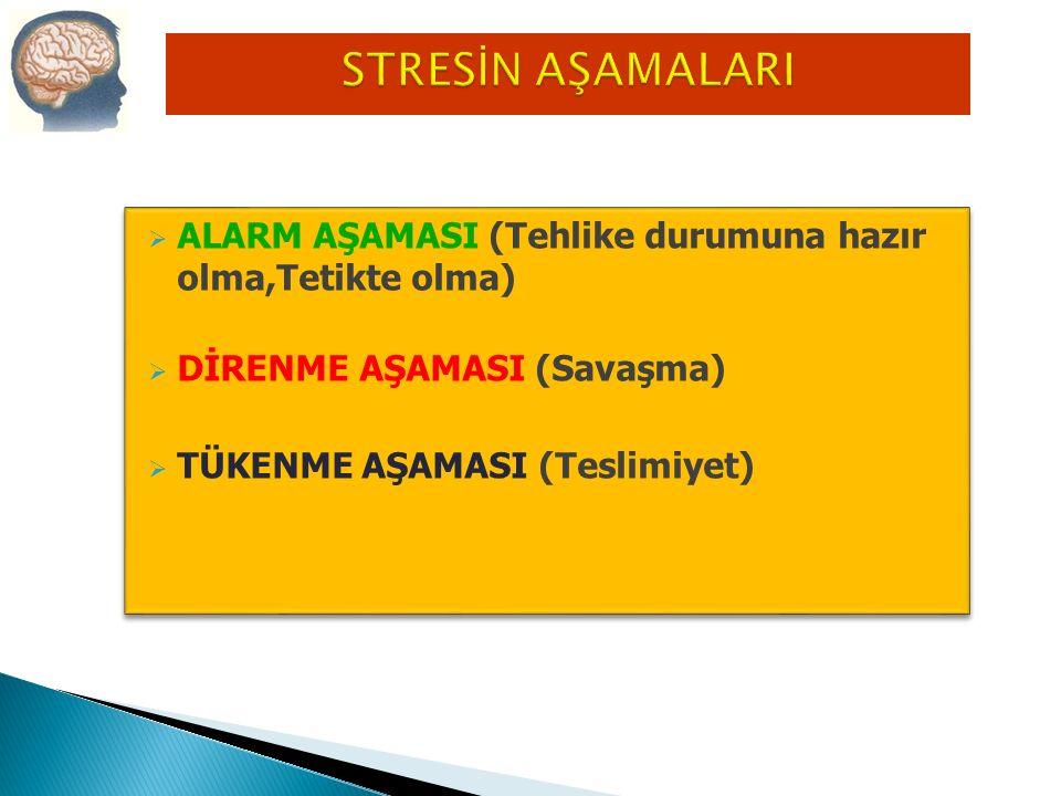 a) Uykusuzluk b) Uyuma İsteği c) İştahsızlık d) Yeme Alışkanlığında Artış e) Sigara Kullanma f) Alkol Kullanma Davranışsal Stres Belirtileri