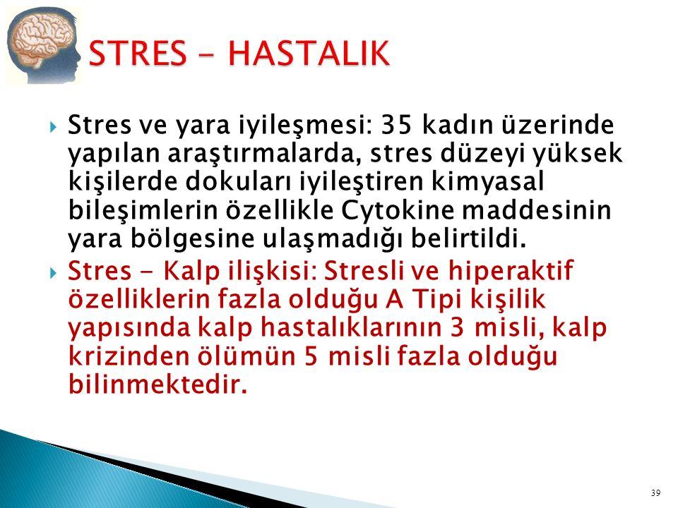  Stres ve bağışıklık sistemi: Stres altında bağışıklık sistemi baskılanır.