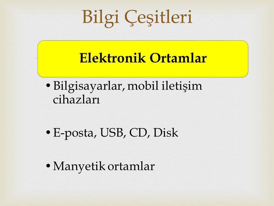  Elektronik Ortamlar Bilgisayarlar, mobil iletişim cihazları E-posta, USB, CD, Disk Manyetik ortamlar Bilgi Çeşitleri