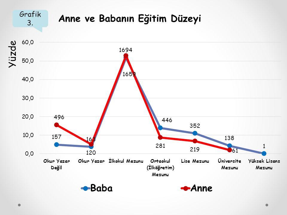 Grafik 3. Anne ve Babanın Eğitim Düzeyi Yüzde