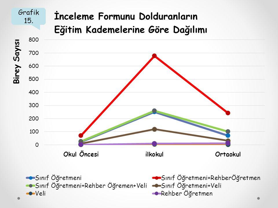 Grafik 15. İnceleme Formunu Dolduranların Eğitim Kademelerine Göre Dağılımı Birey Sayısı