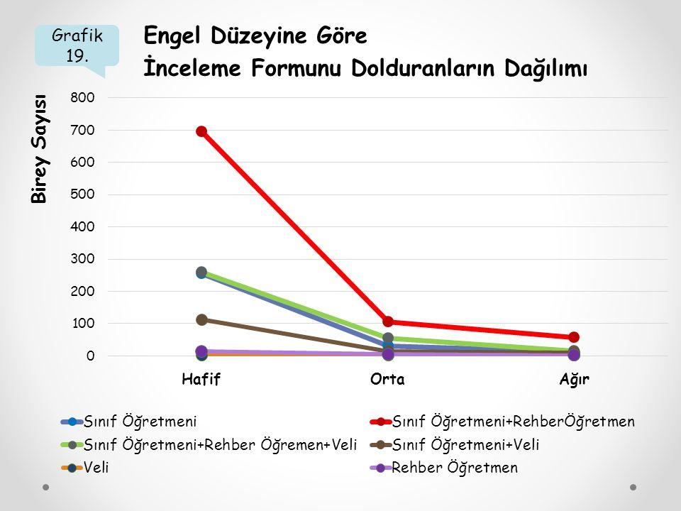 Grafik 19. Engel Düzeyine Göre İnceleme Formunu Dolduranların Dağılımı Birey Sayısı