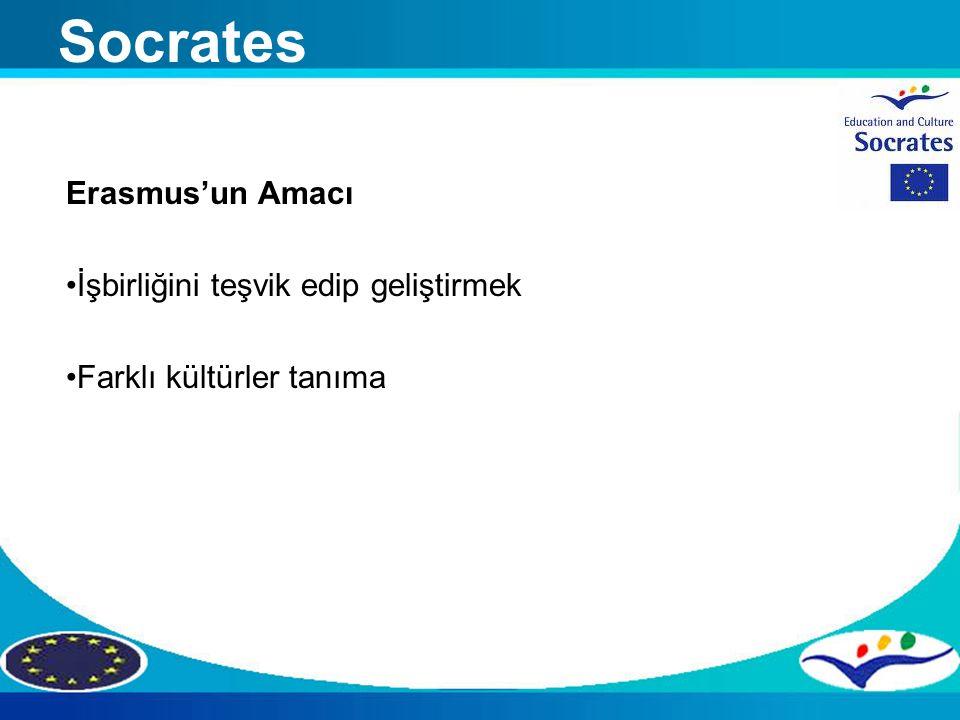Erasmus'un Amacı İşbirliğini teşvik edip geliştirmek Farklı kültürler tanıma Socrates