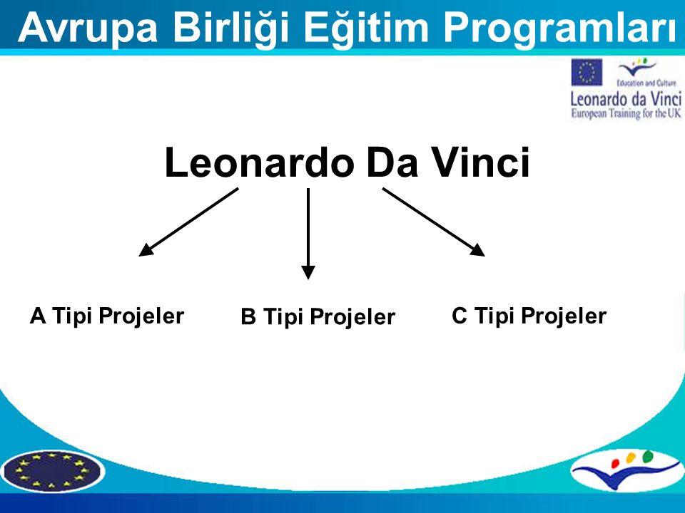 Leonardo Da Vinci A Tipi Projeler B Tipi Projeler C Tipi Projeler Avrupa Birliği Eğitim Programları
