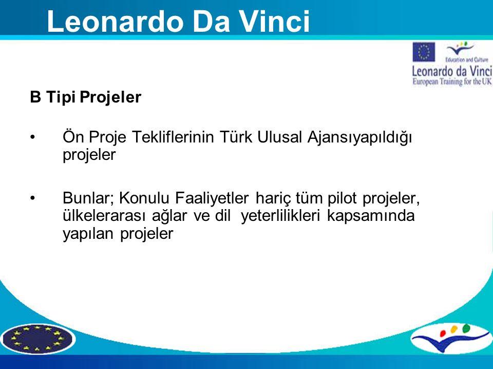 B Tipi Projeler Ön Proje Tekliflerinin Türk Ulusal Ajansıyapıldığı projeler Bunlar; Konulu Faaliyetler hariç tüm pilot projeler, ülkelerarası ağlar ve