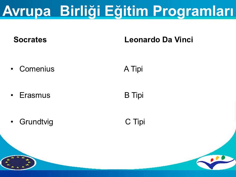 Avrupa Birliği Eğitim Programları Socrates Leonardo Da Vinci Comenius A Tipi Erasmus B Tipi Grundtvig C Tipi