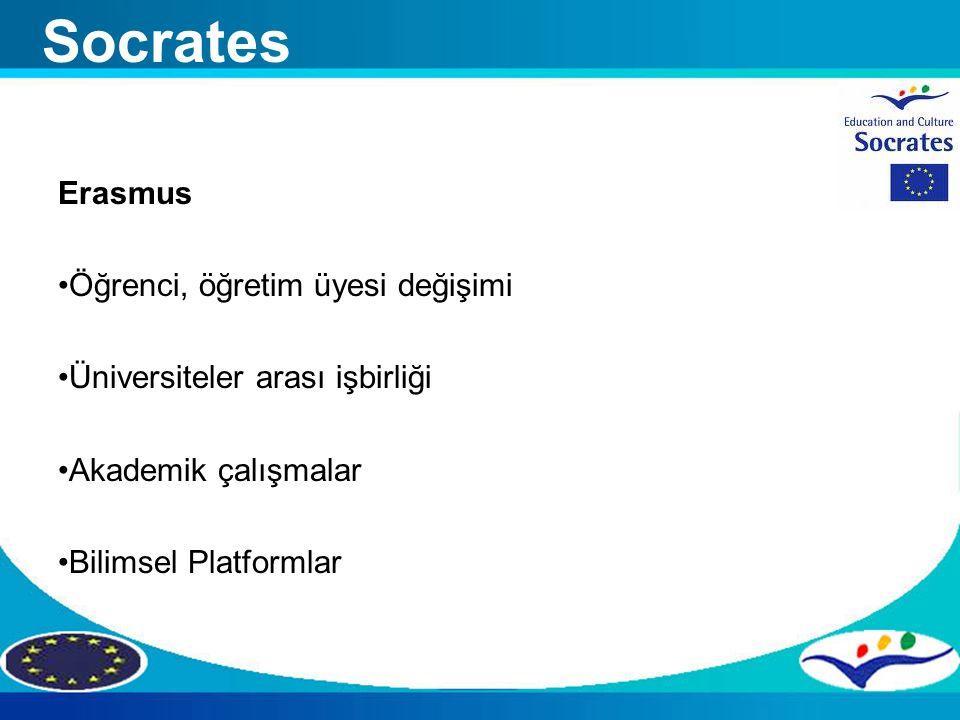 Erasmus Öğrenci, öğretim üyesi değişimi Üniversiteler arası işbirliği Akademik çalışmalar Bilimsel Platformlar Socrates
