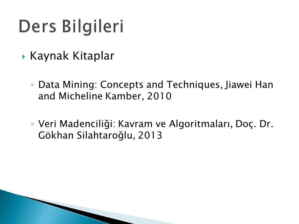  Kaynak Kitaplar ◦ Data Mining: Concepts and Techniques, Jiawei Han and Micheline Kamber, 2010 ◦ Veri Madenciliği: Kavram ve Algoritmaları, Doç. Dr.