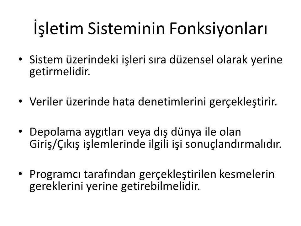 İşletim Sisteminin Fonksiyonları Sistem üzerindeki işleri sıra düzensel olarak yerine getirmelidir.