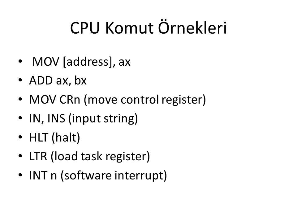 CPU Komut Örnekleri MOV [address], ax ADD ax, bx MOV CRn (move control register) IN, INS (input string) HLT (halt) LTR (load task register) INT n (sof