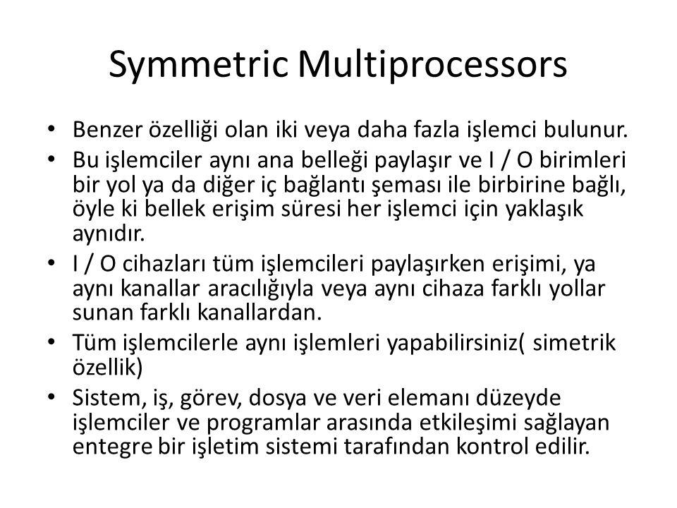 Symmetric Multiprocessors Benzer özelliği olan iki veya daha fazla işlemci bulunur. Bu işlemciler aynı ana belleği paylaşır ve I / O birimleri bir yol