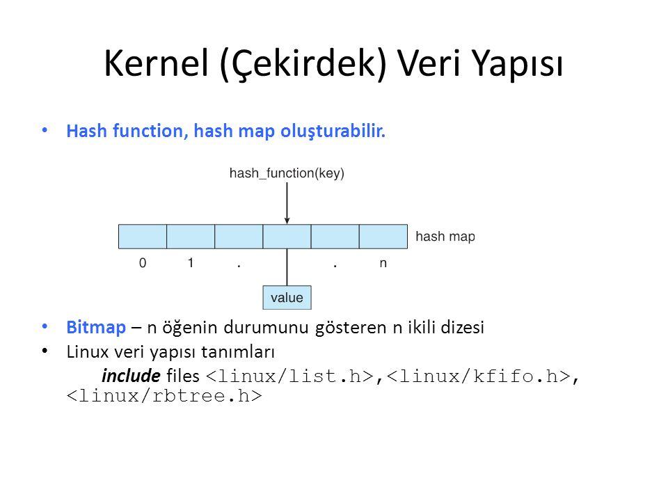 Hash function, hash map oluşturabilir. Bitmap – n öğenin durumunu gösteren n ikili dizesi Linux veri yapısı tanımları include files,, Kernel (Çekirdek