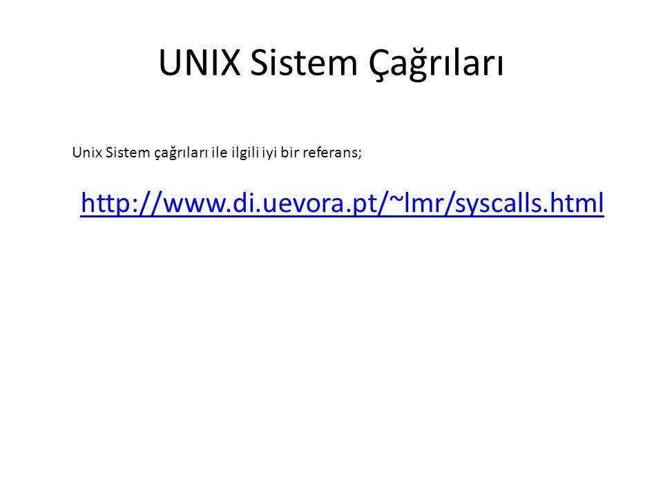 UNIX Sistem Çağrıları http://www.di.uevora.pt/~lmr/syscalls.html Unix Sistem çağrıları ile ilgili iyi bir referans;