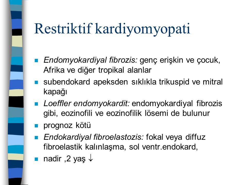 Restriktif kardiyomyopati n Endomyokardiyal fibrozis: genç erişkin ve çocuk, Afrika ve diğer tropikal alanlar n subendokard apeksden sıklıkla trikuspi