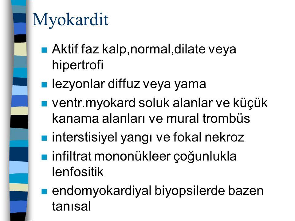 Myokardit n Aktif faz kalp,normal,dilate veya hipertrofi n lezyonlar diffuz veya yama n ventr.myokard soluk alanlar ve küçük kanama alanları ve mural
