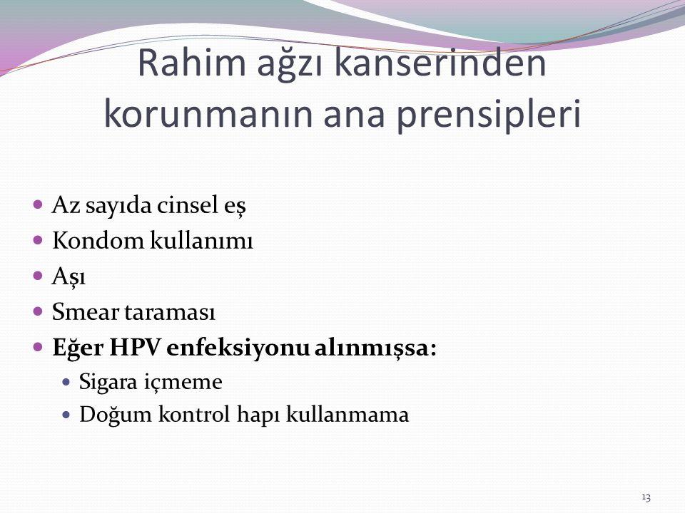 Rahim ağzı kanserinden korunmanın ana prensipleri Az sayıda cinsel eş Kondom kullanımı Aşı Smear taraması Eğer HPV enfeksiyonu alınmışsa: Sigara içmem