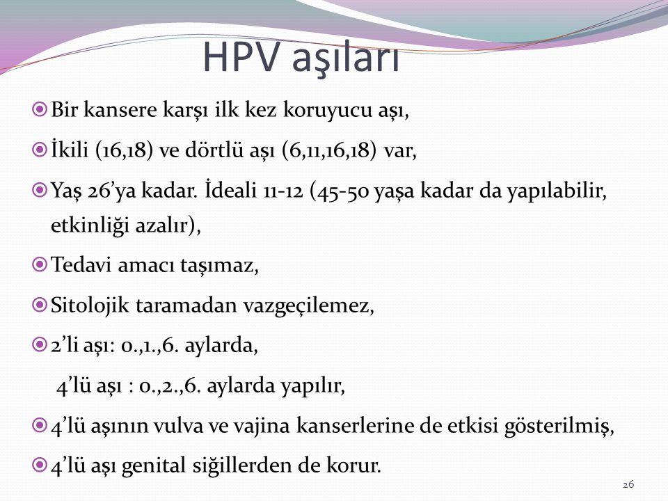 HPV aşıları  Bir kansere karşı ilk kez koruyucu aşı,  İkili (16,18) ve dörtlü aşı (6,11,16,18) var,  Yaş 26'ya kadar. İdeali 11-12 (45-50 yaşa kada