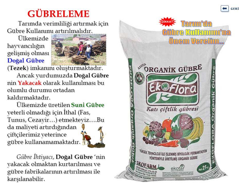 Tarımda verimliliği artırmak için Gübre Kullanımı artırılmalıdır. Tarımda verimliliği artırmak için Gübre Kullanımı artırılmalıdır. Ülkemizde hayvancı