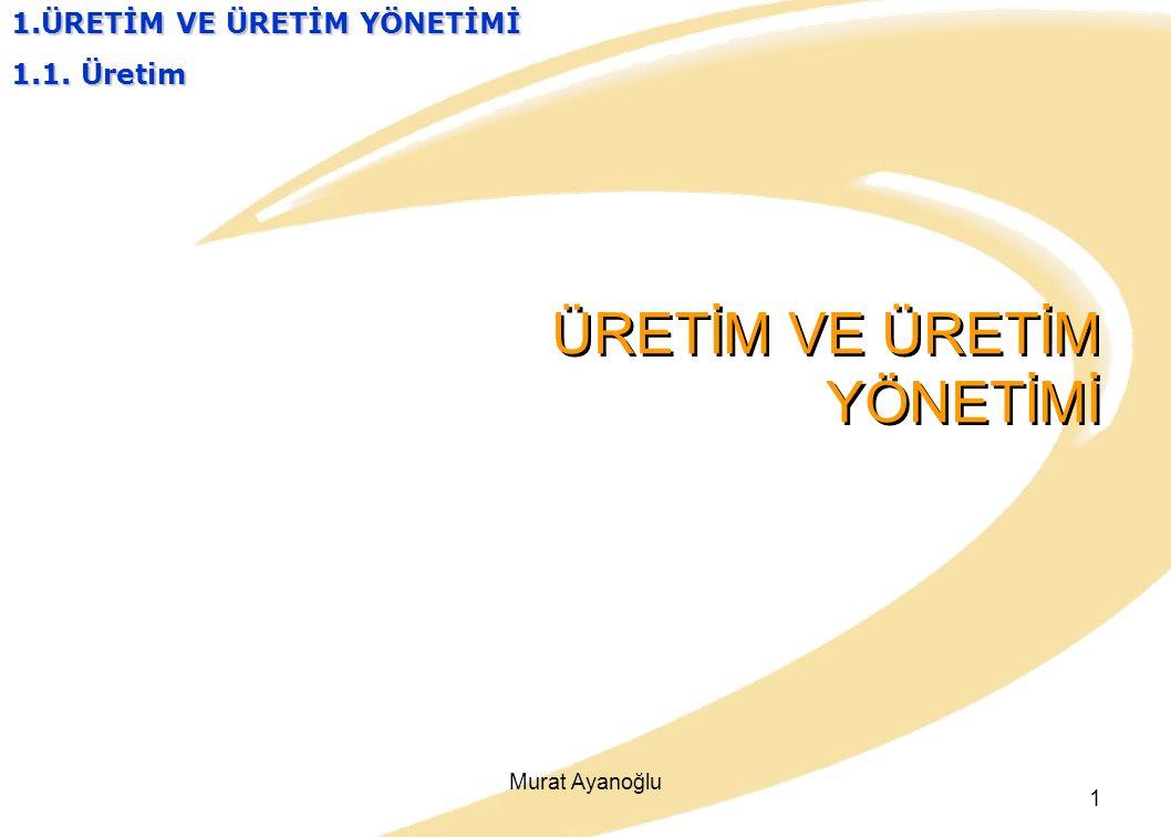 Murat Ayanoğlu 1 ÜRETİM VE ÜRETİM YÖNETİMİ 1.ÜRETİM VE ÜRETİM YÖNETİMİ 1.1. Üretim