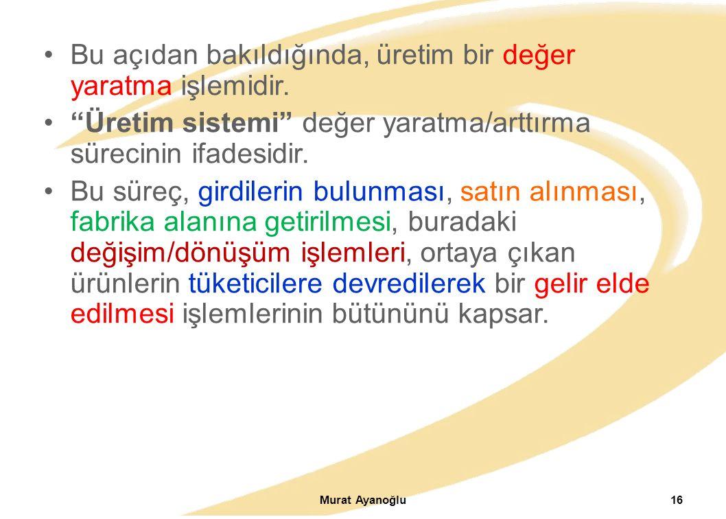 Murat Ayanoğlu16 Bu açıdan bakıldığında, üretim bir değer yaratma işlemidir.