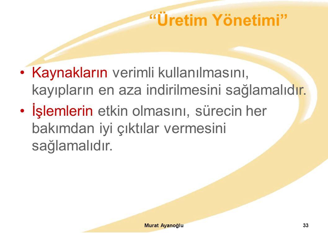 Murat Ayanoğlu33 Kaynakların verimli kullanılmasını, kayıpların en aza indirilmesini sağlamalıdır.