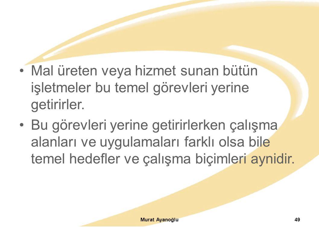 Murat Ayanoğlu49 Mal üreten veya hizmet sunan bütün işletmeler bu temel görevleri yerine getirirler.