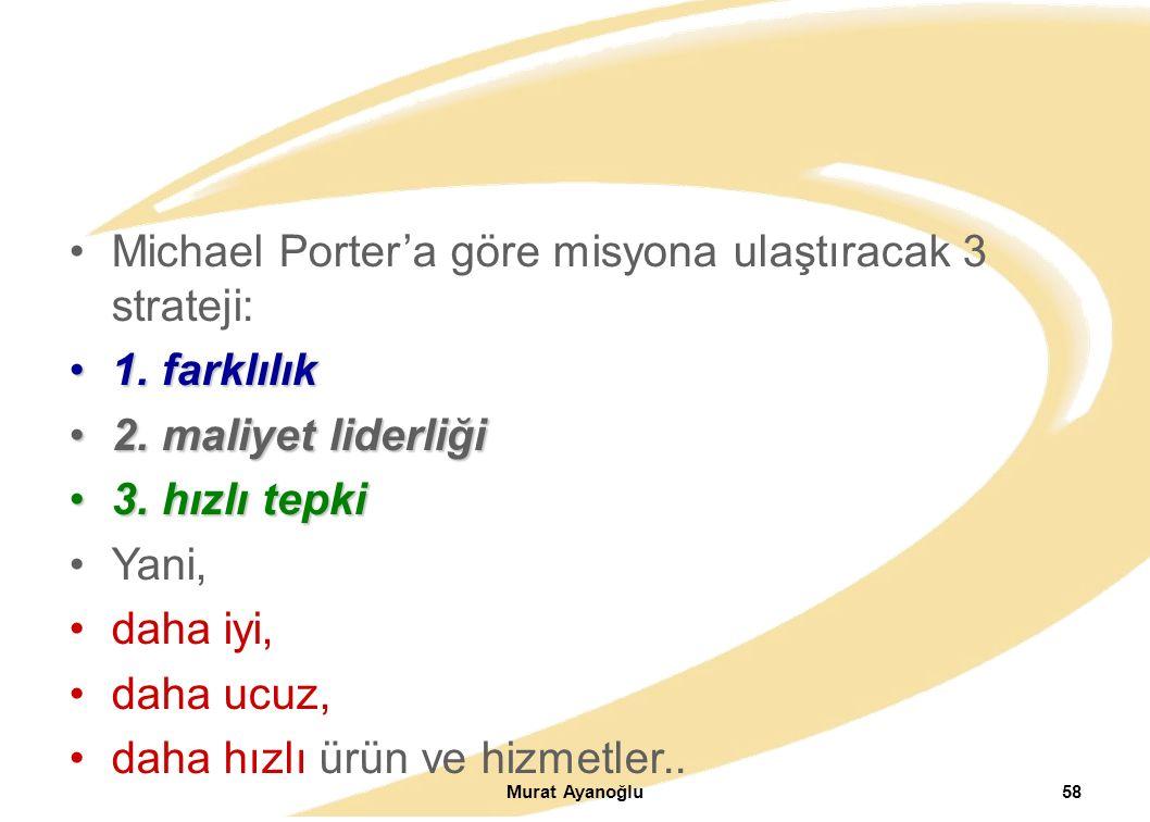 Murat Ayanoğlu58 Michael Porter'a göre misyona ulaştıracak 3 strateji: 1.