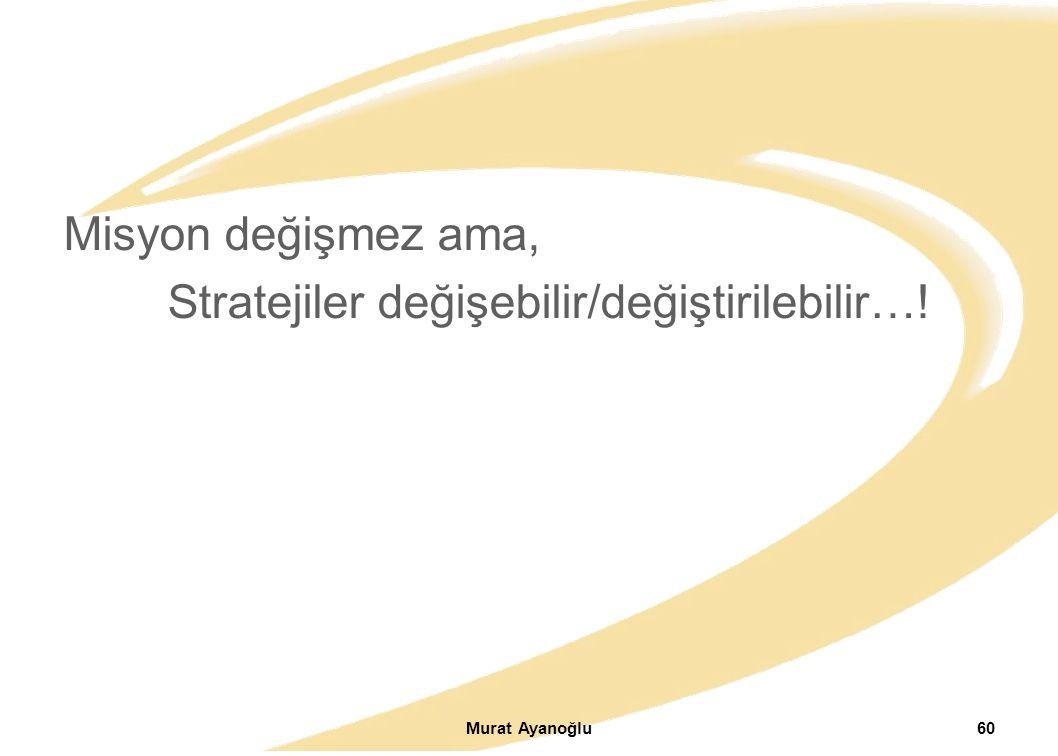 Misyon değişmez ama, Stratejiler değişebilir/değiştirilebilir…! Murat Ayanoğlu60