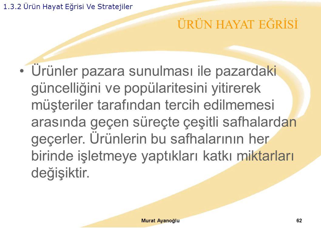Murat Ayanoğlu62 Ürünler pazara sunulması ile pazardaki güncelliğini ve popülaritesini yitirerek müşteriler tarafından tercih edilmemesi arasında geçen süreçte çeşitli safhalardan geçerler.
