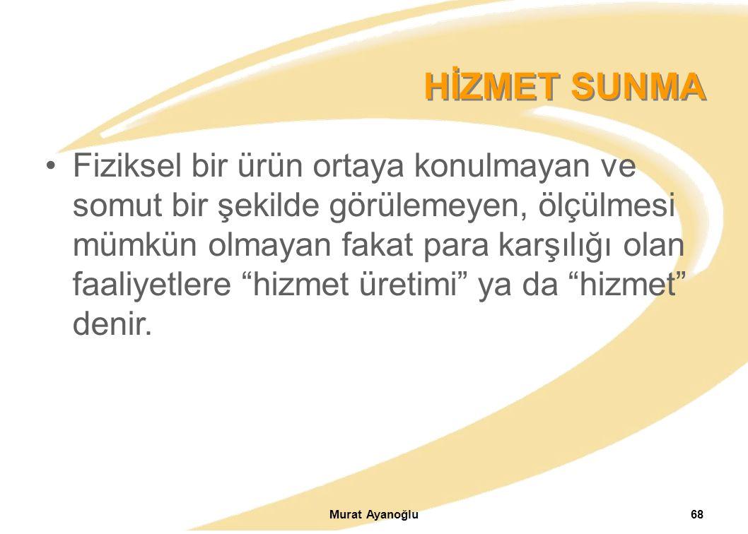 Murat Ayanoğlu68 Fiziksel bir ürün ortaya konulmayan ve somut bir şekilde görülemeyen, ölçülmesi mümkün olmayan fakat para karşılığı olan faaliyetlere hizmet üretimi ya da hizmet denir.