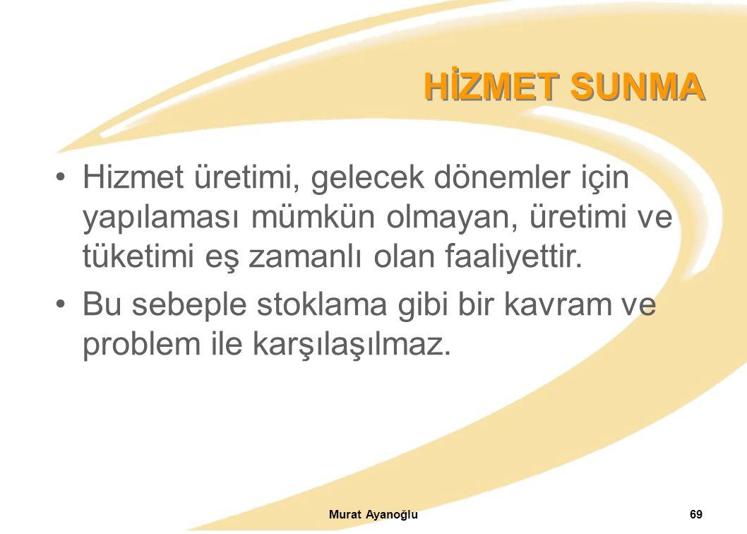 Murat Ayanoğlu69 Hizmet üretimi, gelecek dönemler için yapılaması mümkün olmayan, üretimi ve tüketimi eş zamanlı olan faaliyettir.