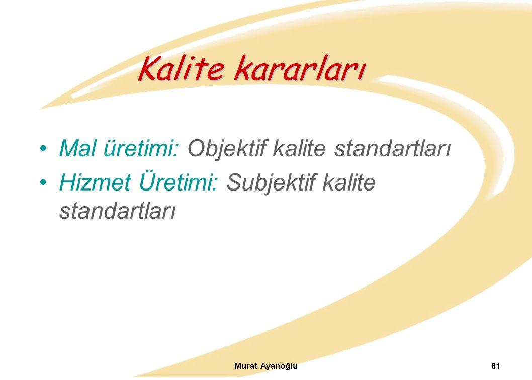 Murat Ayanoğlu81 Mal üretimi: Objektif kalite standartları Hizmet Üretimi: Subjektif kalite standartları Kalite kararları