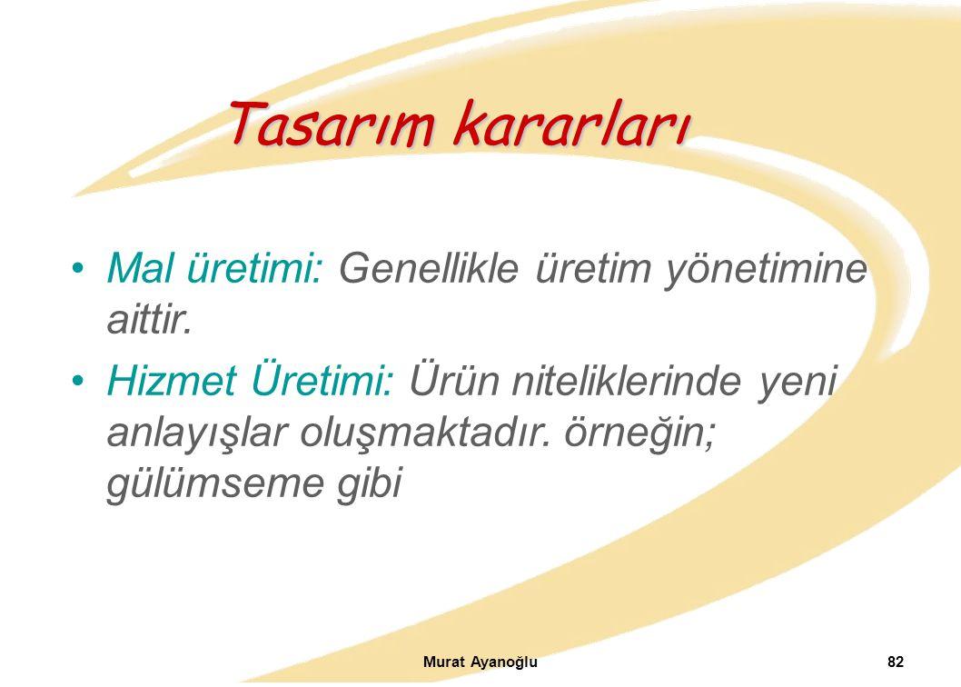 Murat Ayanoğlu82 Mal üretimi: Genellikle üretim yönetimine aittir.
