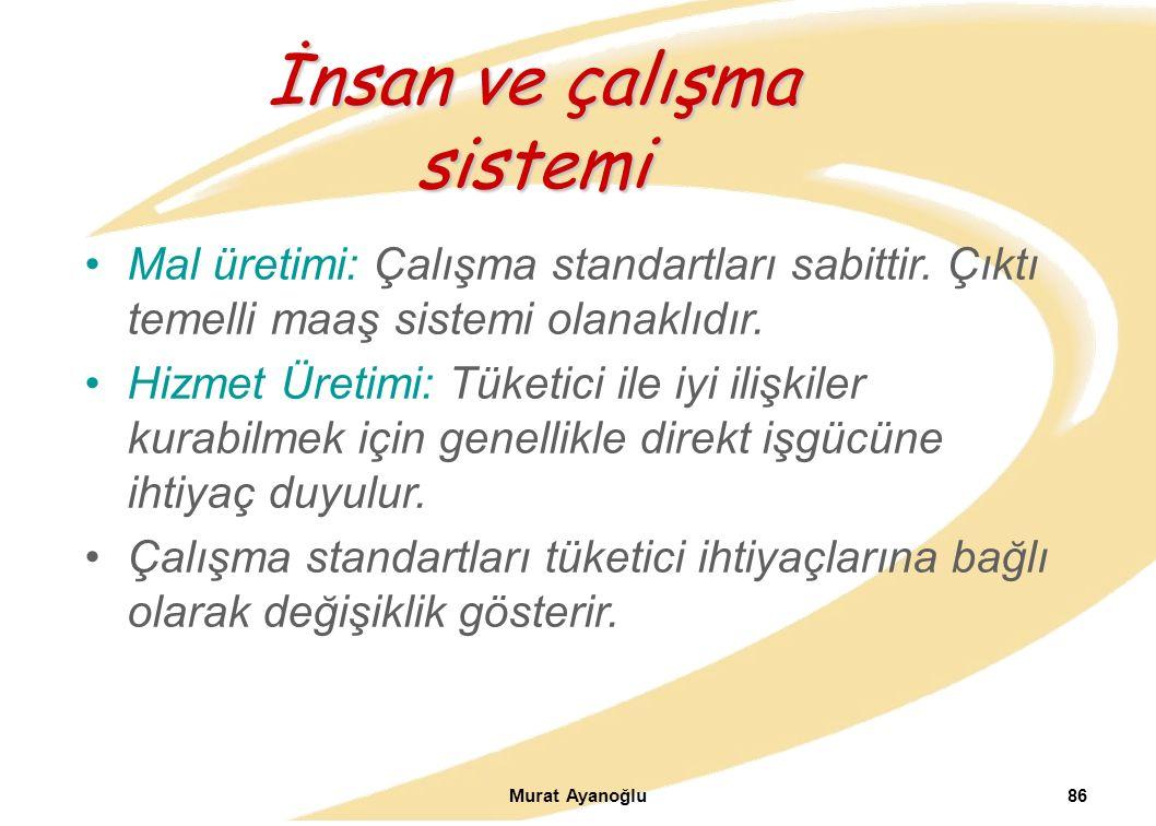 Murat Ayanoğlu86 Mal üretimi: Çalışma standartları sabittir.