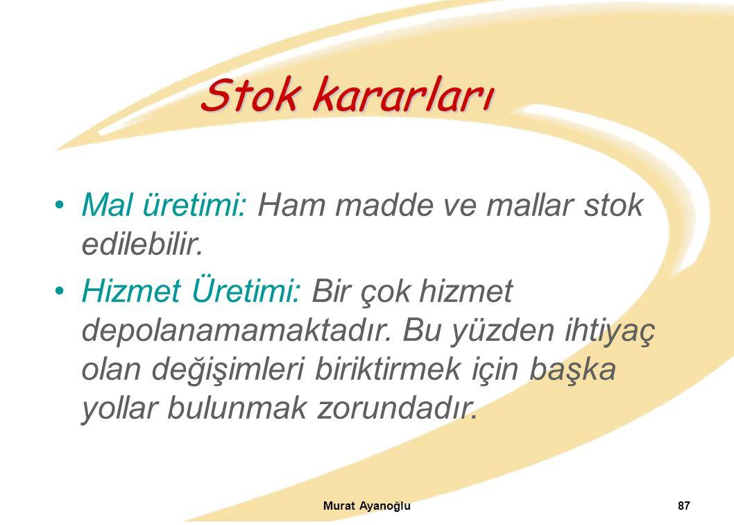Murat Ayanoğlu87 Mal üretimi: Ham madde ve mallar stok edilebilir.