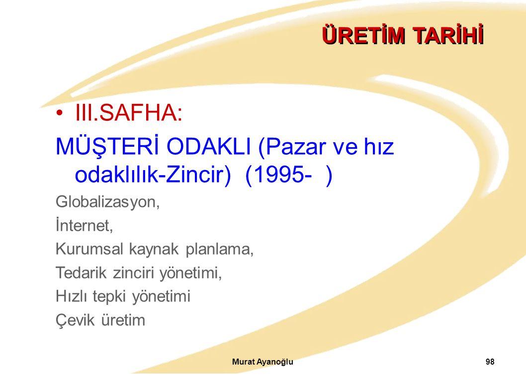 Murat Ayanoğlu 98 ÜRETİM TARİHİ III.SAFHA: MÜŞTERİ ODAKLI (Pazar ve hız odaklılık-Zincir) (1995- ) Globalizasyon, İnternet, Kurumsal kaynak planlama, Tedarik zinciri yönetimi, Hızlı tepki yönetimi Çevik üretim