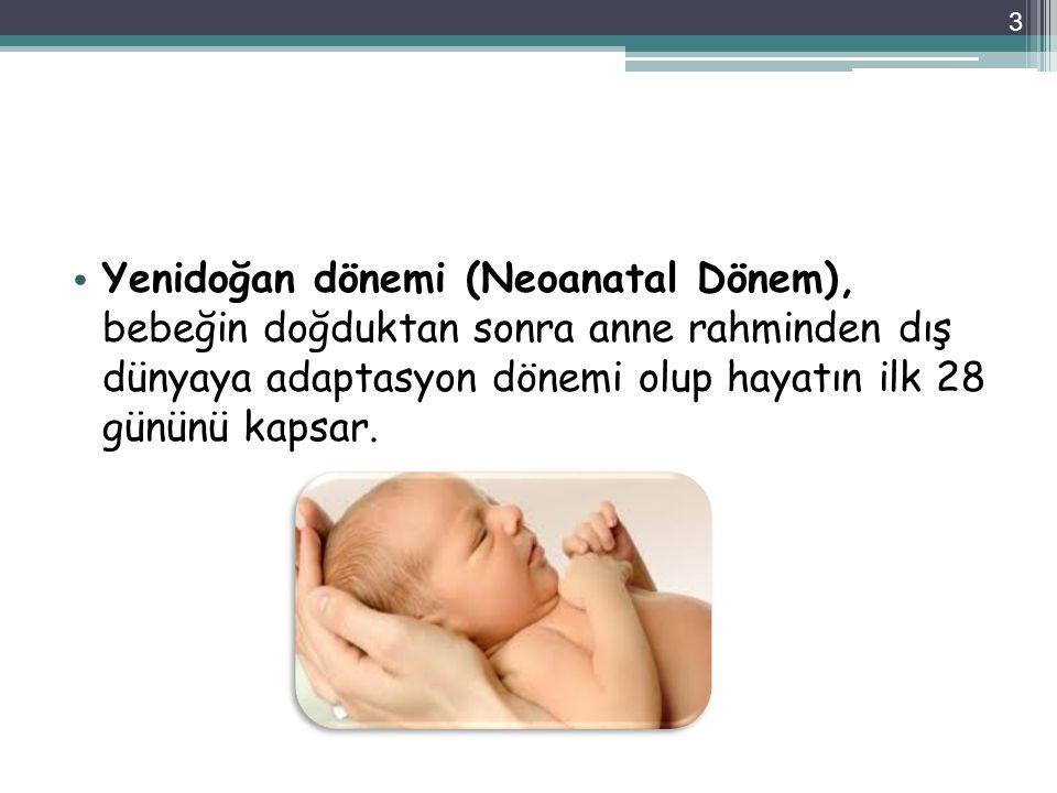 Yenidoğan dönemi (Neoanatal Dönem), bebeğin doğduktan sonra anne rahminden dış dünyaya adaptasyon dönemi olup hayatın ilk 28 gününü kapsar. 3