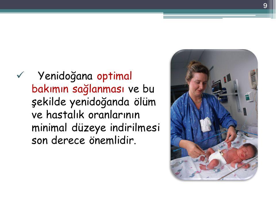 Yenidoğana optimal bakımın sağlanması ve bu şekilde yenidoğanda ölüm ve hastalık oranlarının minimal düzeye indirilmesi son derece önemlidir. 9